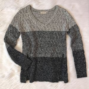 RD Style Zipper Detail Gray Ombre Sweater
